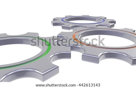 metal gear wheels isolated white background - 3d illustration - stock photo
