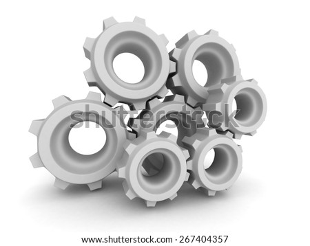 Metal Gears And Cogwheels On White Background. 3d Render Illustration - stock photo
