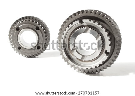 metal gears over white - stock photo
