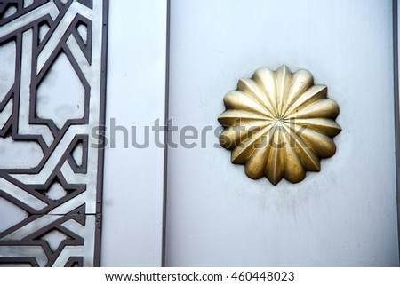 metal    gray  morocco in    africa the old wood  facade home and rusty safe padlock  - stock photo