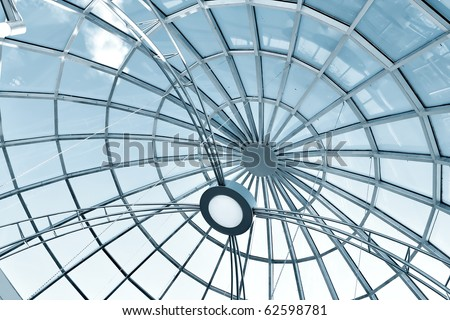 metal gray round ceiling - stock photo