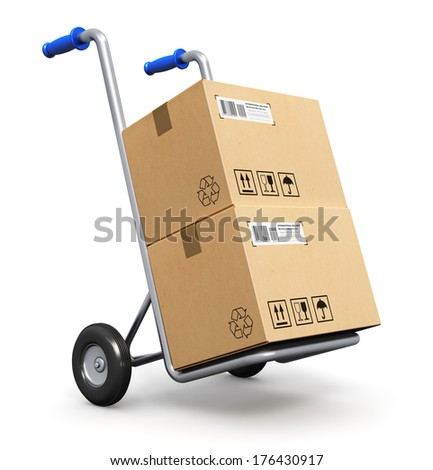 Metal hand truck with corrugated cardboard package boxes isolated on white background - stock photo