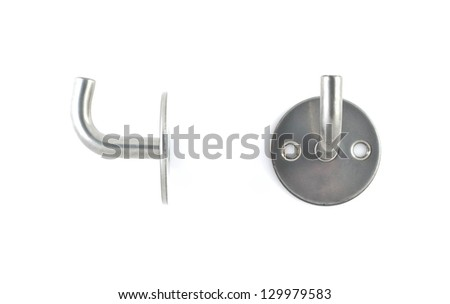 Metal hanger  isolated on white background. - stock photo