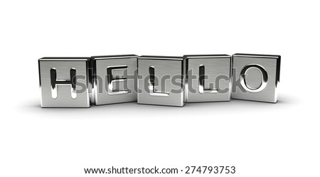 Metal Hello Text (isolated on white background) - stock photo