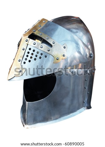 Metal helmet of the knight. Isolated on white, with clipping path. - stock photo