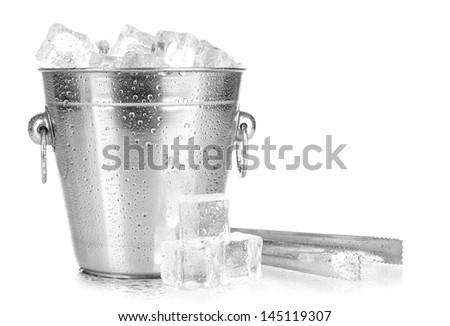 Metal ice bucket isolated on white - stock photo