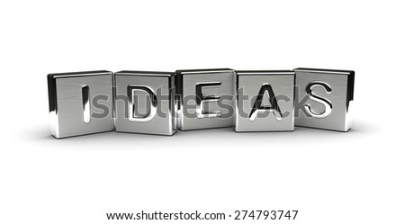 Metal Ideas Text (isolated on white background) - stock photo