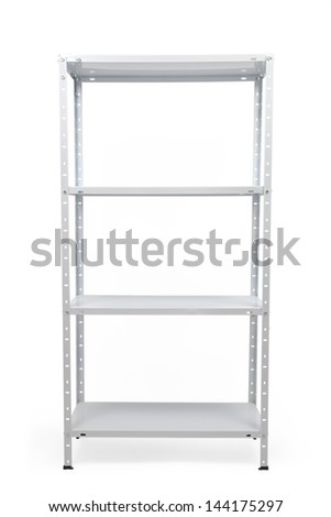 Metal industrial storage shelves isolated on white. - stock photo
