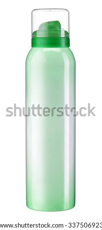 Metal inverted bottle / studio photography of green metal bottle - isolated on white background - stock photo
