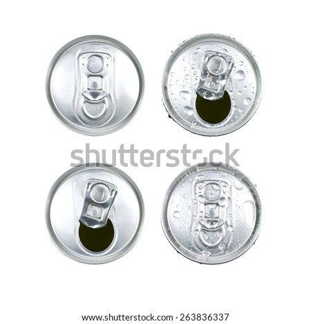 Metal jar drink with droplets of water isolated on white background. Aluminium can with drink, view from top. Opened can top - stock photo
