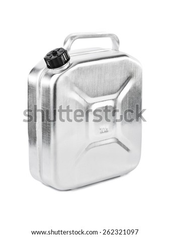 Metal jerrycan isolated on white background - stock photo