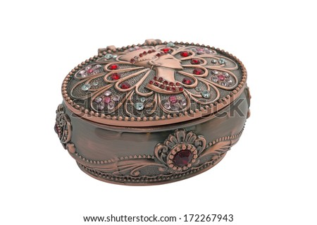 Metal  jewelry box. Casket. Egyptian motifs. Isolated on white background. - stock photo