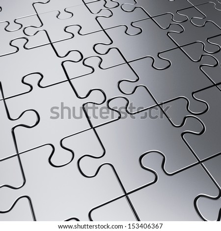 Metal jigsaw puzzle background - 3d render  - stock photo