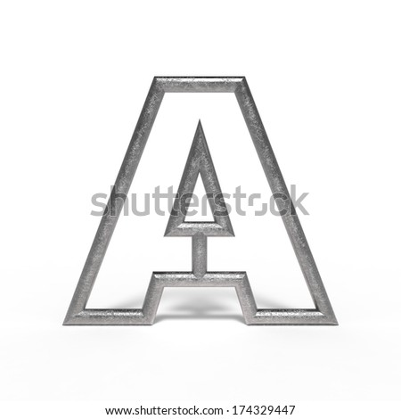 metal letter A isolated on white background - stock photo