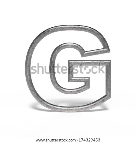 metal letter G isolated on white background - stock photo