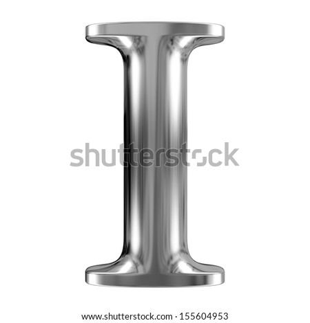 Metal Letter I from chrome solid alphabet. - stock photo