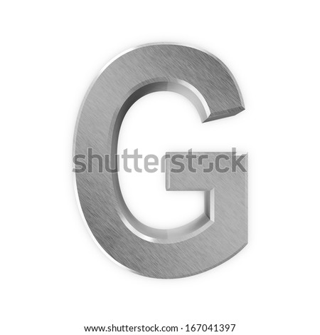 Metal Letters isolated on white background (Letter G) - stock photo