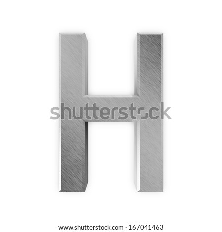 Metal Letters isolated on white background (Letter H) - stock photo