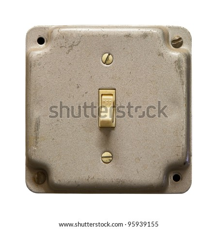 Metal light switch box isolated on white - stock photo