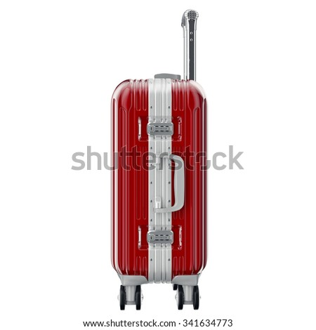 Metal luggage red, side view. 3D graphic object isolated on white background - stock photo