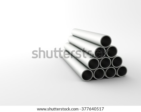 Metal mades Pipes on a white background - stock photo
