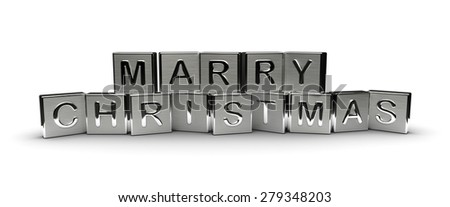 Metal Marry Christmas Text (Isolated on white background) - stock photo