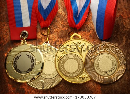 Metal medals with tricolor ribbon - stock photo