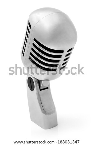 Metal microphone on white background - stock photo