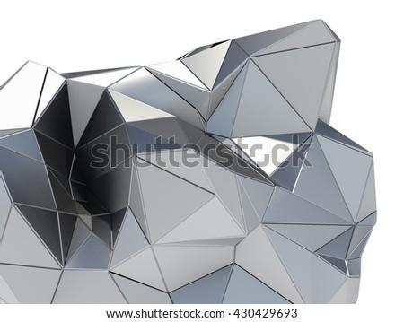 Metal modern building on white background. 3D illustration - stock photo