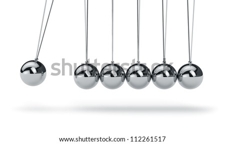 Metal Newton's cradle isolated on white background - stock photo