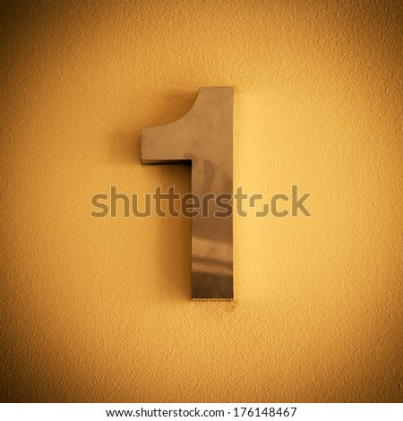 Metal number one background - stock photo