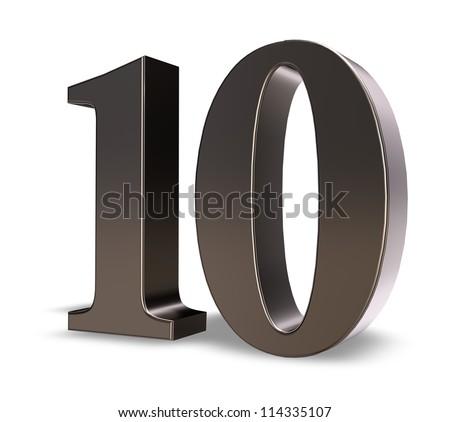 metal number ten on white background - 3d illustration - stock photo