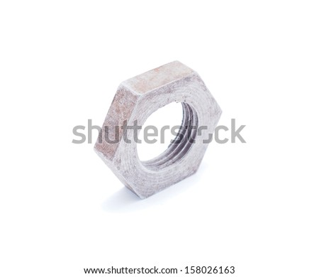 metal nut on a white background - stock photo