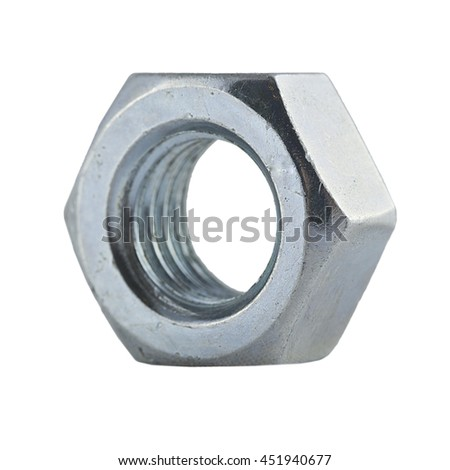 metal nut, with clipping a patch on a white background - stock photo