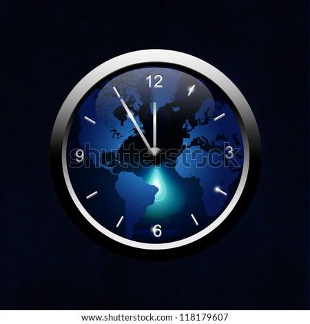 metal oclock over dark background - stock photo