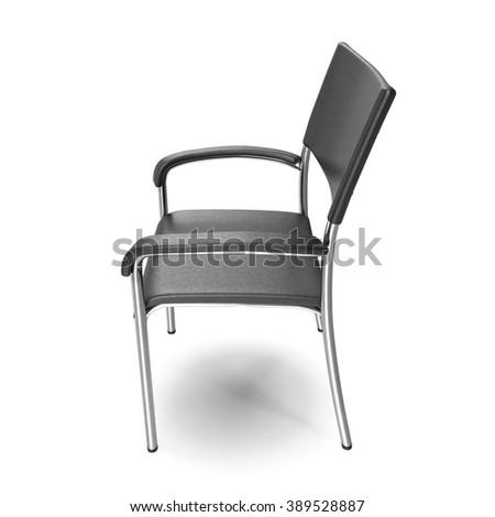 Metal office chair with steel legs on white background. - stock photo