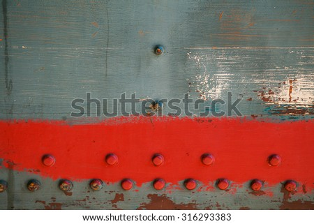 Metal old background. Grunge background metal plate with screws - stock photo
