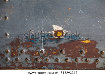 Metal old  steam punk background. Grunge background metal plate with screws - stock photo