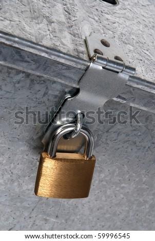 metal padlock closure - stock photo