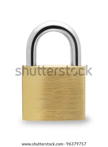 Metal padlock  on white background - stock photo