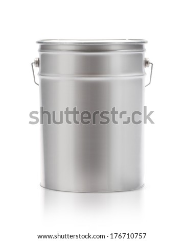 Metal painting Pail isolated on white, (clipping work path included). - stock photo