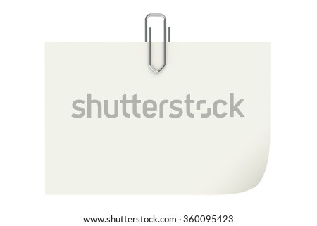 Metal paperclip and paper isolated on white background - stock photo