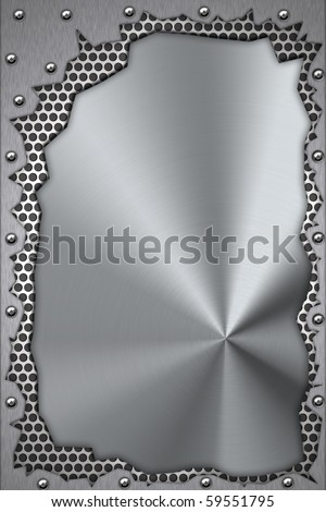 Metal pieces riveted to brushed steel background. - stock photo