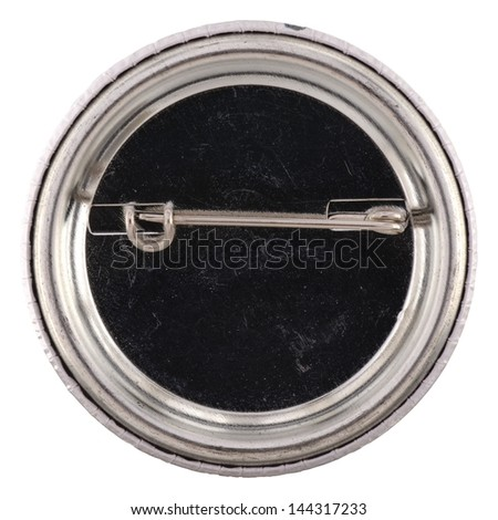 Metal pin, brooch back isolated on white background - stock photo