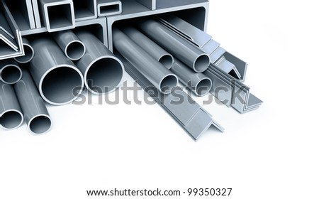 metal pipes, angles, channels, squares - stock photo