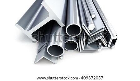 metal pipes, angles, channels, squares. 3D rendering on a white background. 3D illustration - stock photo