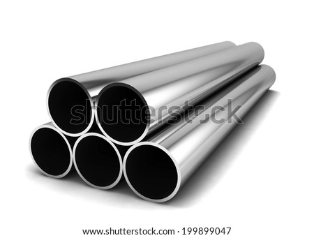 Metal pipes. 3d illustration isolated on white background  - stock photo