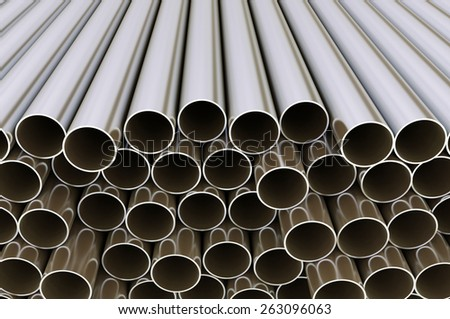 Metal pipes. Industrial 3d illustration - stock photo
