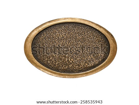 Metal plaque on a white background - stock photo