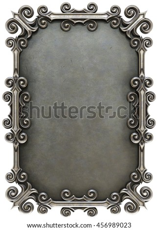 metal plate framed. isolated on white background. 3D illustration. - stock photo